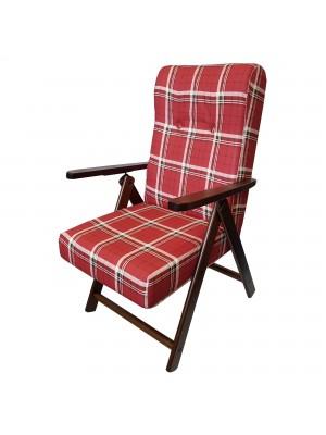 Sedia a sdraio reclinabile in legno abete faggio e resistente cuscino imbottito 100% cotone facilmente ripiegabile bordeaux scozzese Molisana Totò Piccinni