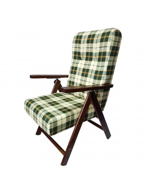 Sedia a sdraio reclinabile in legno abete faggio e resistente cuscino imbottito 100% cotone facilmente ripiegabile verde scacchi Totò Piccinni