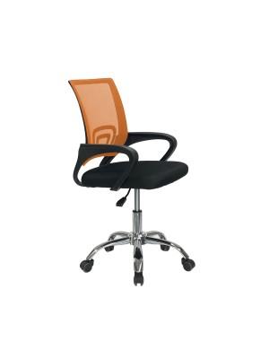 Sedia poltrona ufficio ergonomica con base cromata ad altezza regolabile colore arancione AQUARIUS Totò Piccinni