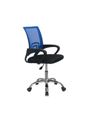 Sedia poltrona ufficio ergonomica con base cromata ad altezza regolabile colore blu AQUARIUS Totò Piccinni