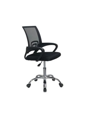 Una sedia poltrona ufficio ergonomica con base cromata ad altezza regolabile colore nero AQUARIUS Totò Piccinni