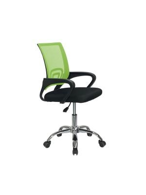Sedia poltrona ufficio ergonomica ad altezza regolabile con schienale alto e braccioli basculanti colore verde ORION Totò Piccinni