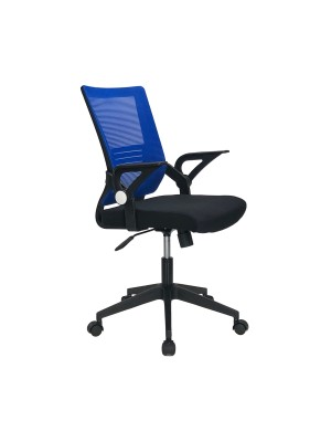 Sedia poltrona ufficio ergonomica ad altezza regolabile con schienale alto e braccioli basculanti colore blu ORION Totò Piccinni