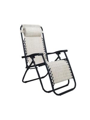 Sedia a sdraio Gravity gravità zero reclinabile e pieghevole adatta ad ambienti esterni in robusto acciaio e resistente textilene lavabile colore Beige