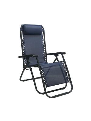Sedia a sdraio Gravity gravità zero reclinabile e pieghevole adatta ad ambienti esterni in robusto acciaio e resistente textilene lavabile colore blu