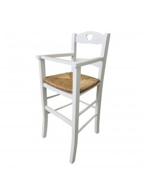 Vista diagonale di un seggiolone bimbo in legno artigianale colore Bianco laccato Totò Piccinni