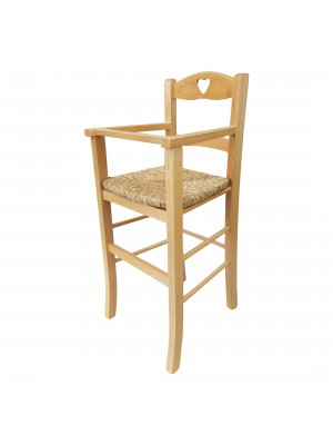 Vista diagonale di un seggiolone bimbo in legno artigianale colore naturale Totò Piccinni