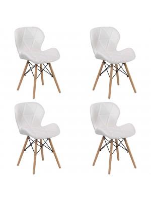 Set 4 Sedie SHIBA imbottite gambe in legno struttura in metallo (Ecopelle Bianco)