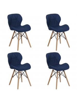Set 4 Sedie SHIBA imbottite gambe in legno struttura in metallo (Tessuto Blu)
