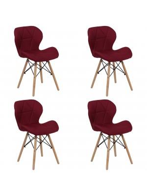 Set 4 Sedie SHIBA imbottite gambe in legno struttura in metallo (Tessuto Bordeaux)