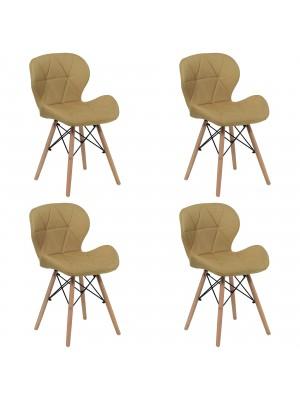 Set 4 Sedie SHIBA imbottite gambe in legno struttura in metallo (Tessuto Giallo)