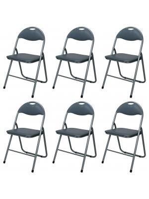 Set di 6 sedie pieghevoli salvaspazio imbottite ecopelle colore Grigio Totò Piccinni