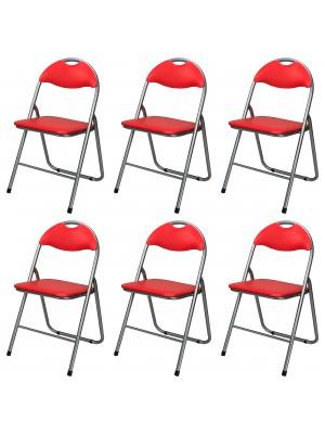 Set di 6 sedie pieghevoli salvaspazio imbottite ecopelle colore Rosso Totò Piccinni