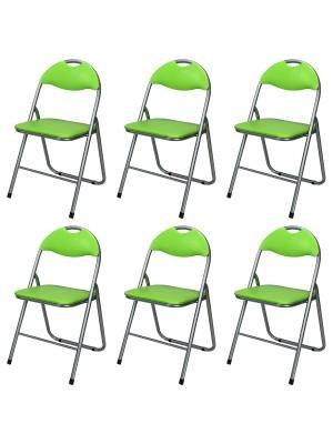 Set di 6 sedie pieghevoli salvaspazio imbottite ecopelle colore Verde Totò Piccinni