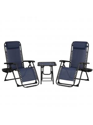 Set Bistrot 2 Sedie Sdraio GRAVITY e Tavolino pieghevole in textilene (Blu)