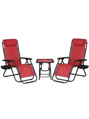 Set Bistrot 2 Sedie Sdraio GRAVITY e Tavolino pieghevole in textilene (Rosso)