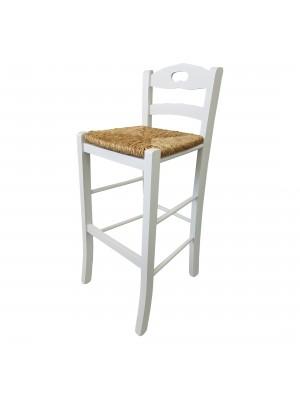 Vista diagonale di uno sgabello legno snack artigianale colore Bianco laccato Totò Piccinni