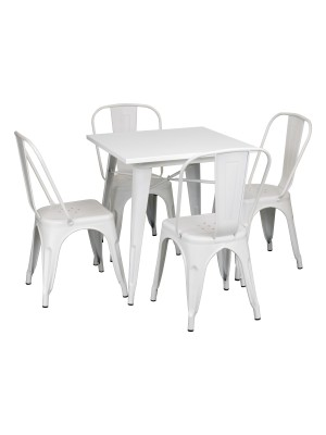 Set Tavolo e Sedie Industry in Metallo Design Industriale (Bianco, Tavolo e 4 Sedie)
