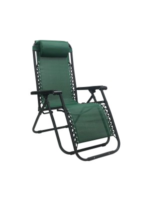 Sedia a sdraio Gravity gravità zero reclinabile e pieghevole adatta ad ambienti esterni in robusto acciaio e resistente textilene lavabile colore verde