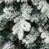 Floccatura su ramo e rametti coperti artificialmente da neve bianca di un albero di natale verde realistico alaska xone