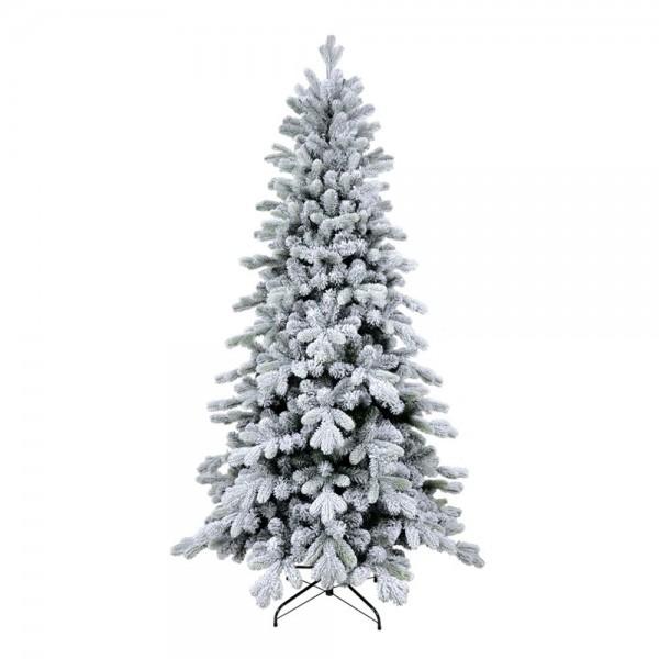 Albero di Natale innevato in PE real touch con fiocchi di neve base stretta bianco verde Cervino Slim Xone