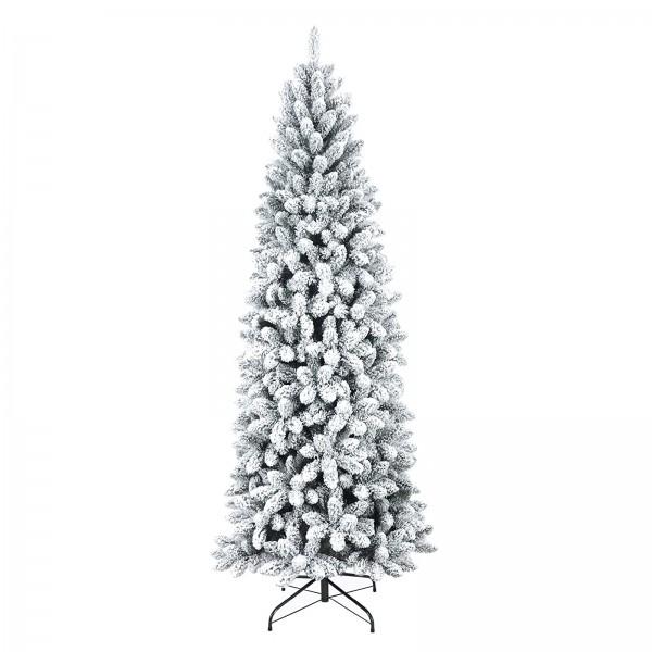 Foto di un albero di natale realistico innevato verde e bianco con fiocchi di neve Jackie Slim xone