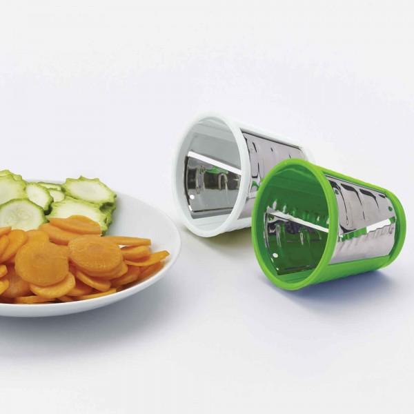 Rondelle di verdure con accessori per il taglio di un ariete saladino affetta verdure elettrico