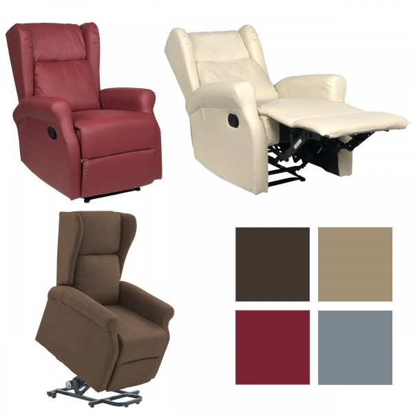 Copertina di una poltrona relax reclinabile disponibile in variante manuale o elettrica con alzapersona in ecopelle o tessuto