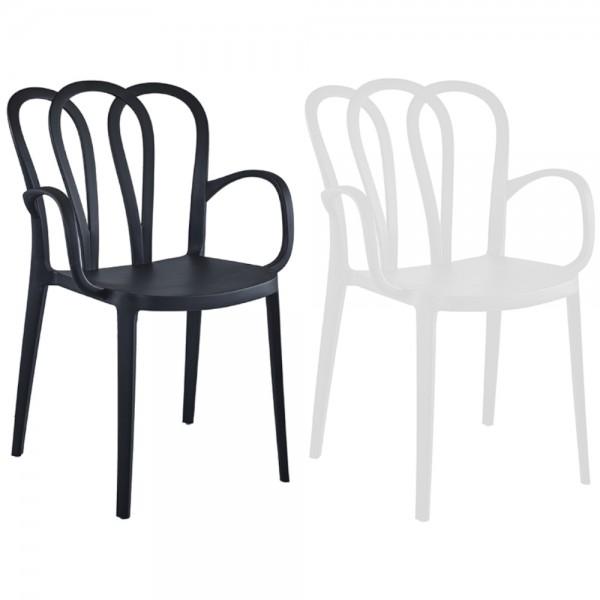 Sedie di design moderno flower schienale a fiore in robusto PP polipropilene con braccioli in nero o bianco