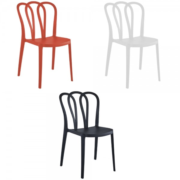 Sedie di design moderno flower schienale a fiore in robusto PP polipropilene arancione bianco o nero