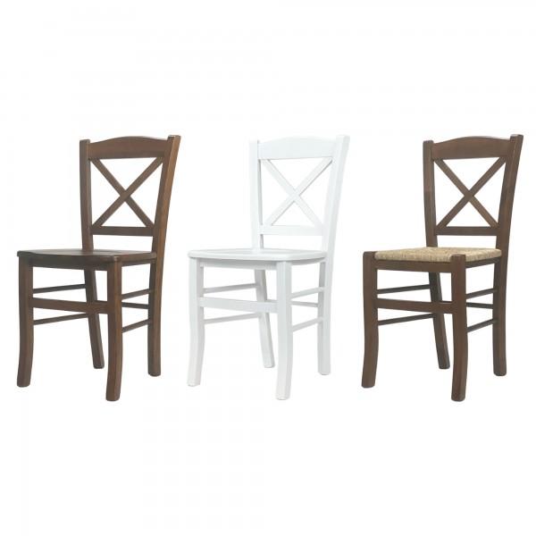 Sedie in legno con seduta in paglia o massello made in Italy Clayton Croce Cross Totò Piccinni