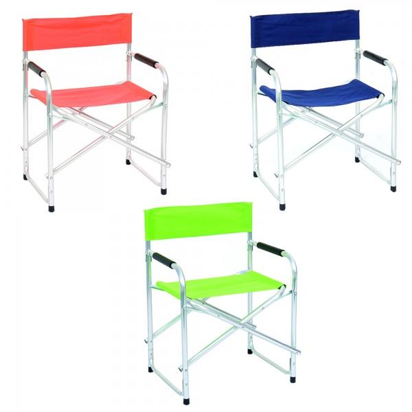 Sedie pieghevoli in alluminio leggere facilmente trasportabili con braccioli regista Totò Piccinni