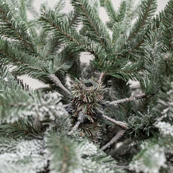 Rami verdi in PE real touch innevati con apertura ad ombrello con fiocchi di neve di un albero di Natale realistico Nikolai Xone