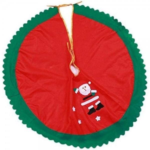 Gonna o Tappeto Copri Base universale per Albero di Natale Totò Piccinni Decorato con Babbo Natale colore Rosso e Verde