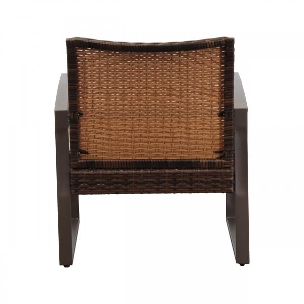 Salottino da giardino polyrattan intrecciato marrone con cuscini e tavolino in vetro