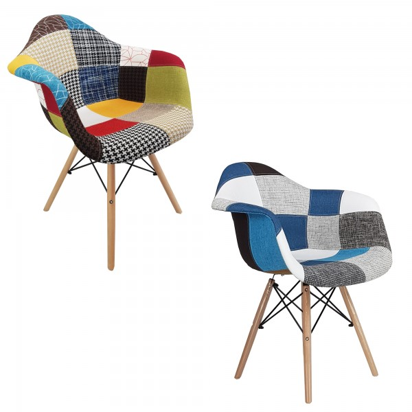 Poltroncina Comfort Multicolore Patchwork Design Moderno
