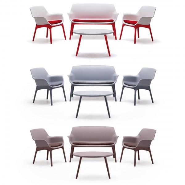 Set di divanetto poltroncine e tavolino per esterno realizzato in PP polipropilene resistente alle intemperie Luxor Made in Italy