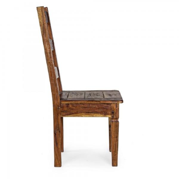 Lato di una sedia in stile rustico campagnolo in legno di acacia indiana Chateaux Bizzotto