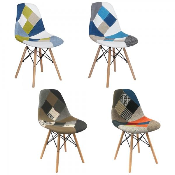 Sedia Patchwork Confort, Eiffel Design, Ergonomica, Robusta, Gambe Legno Faggio, Alta qualità