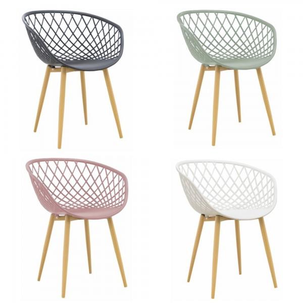 Sedia di Design Tango Moderna in Polipropilene, base in Metallo