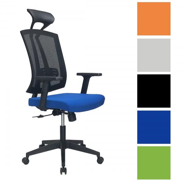 Sedia Ufficio LIBRA, schienale traspirante, Braccioli, Rotelle, girevole 360°, altezza e schienale regolabile