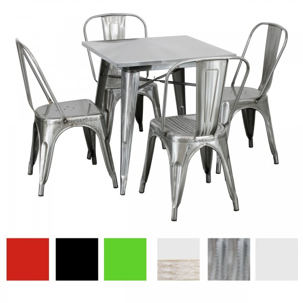 Set Tavolo e Sedie Industry in Metallo Design Industriale