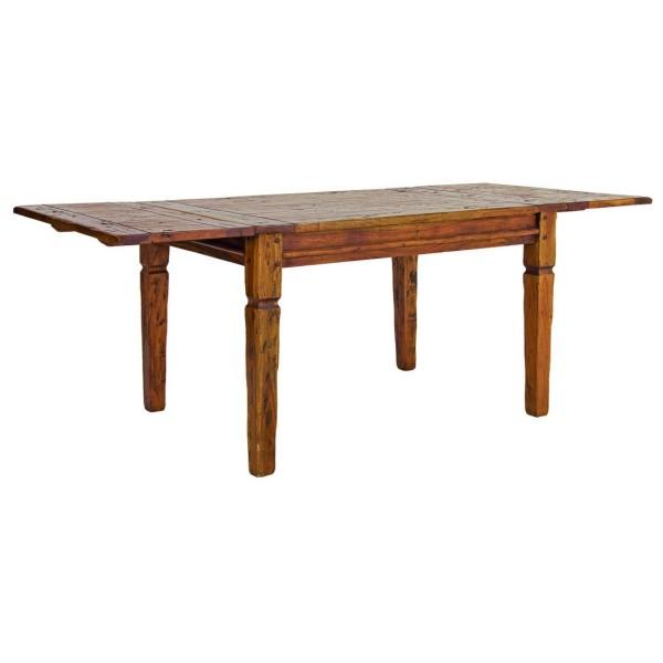 Vista diagonale di un tavolo allungabile in legno massello di acacia indiana stile rustico campagnolo Chateaux Bizzotto